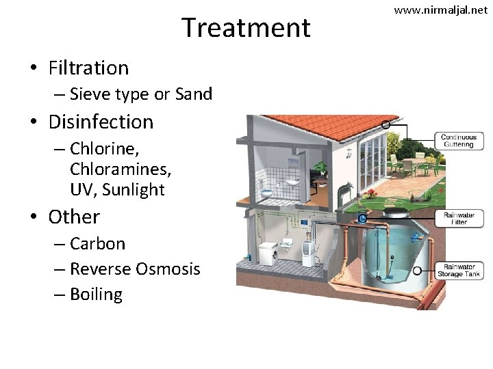 Treatment • Filtration – Sieve type or Sand • Disinfection – Chlorine, Chloramines, UV,