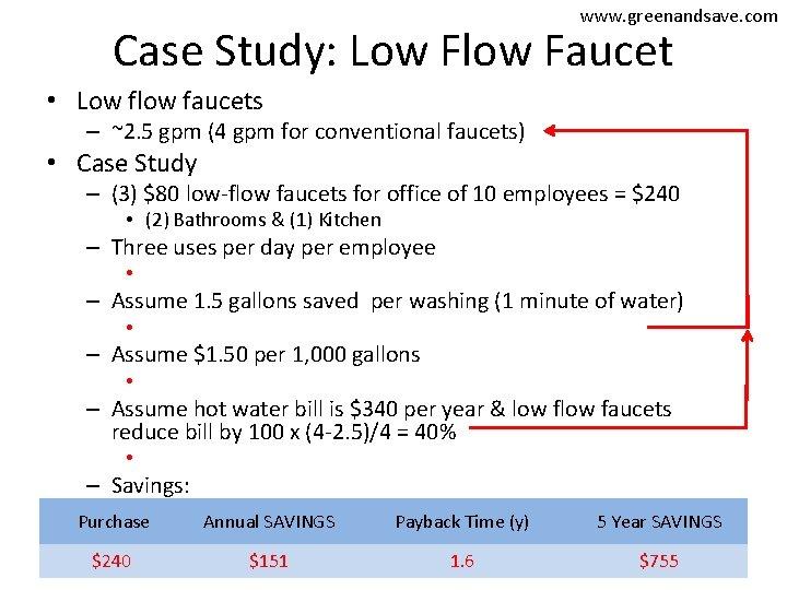 www. greenandsave. com Case Study: Low Flow Faucet • Low flow faucets – ~2.