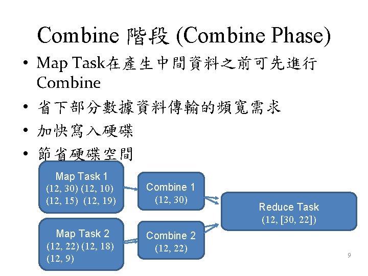 Combine 階段 (Combine Phase) • Map Task在產生中間資料之前可先進行 Combine • 省下部分數據資料傳輸的頻寬需求 • 加快寫入硬碟 • 節省硬碟空間