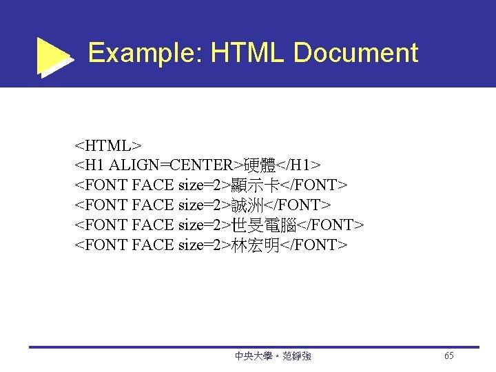 Example: HTML Document <HTML> <H 1 ALIGN=CENTER>硬體</H 1> <FONT FACE size=2>顯示卡</FONT> <FONT FACE size=2>誠洲</FONT>