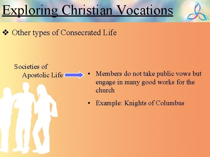 Exploring Christian Vocations v Other types of Consecrated Life Societies of Apostolic Life •