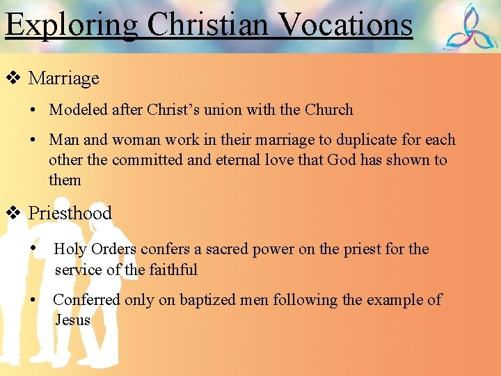 Exploring Christian Vocations v Marriage • Modeled after Christ's union with the Church •