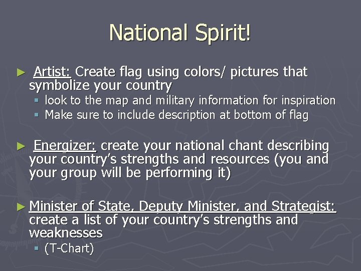 National Spirit! ► Artist: Create flag using colors/ pictures that symbolize your country §