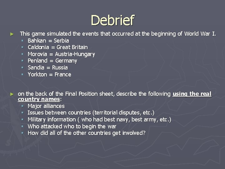 Debrief ► ► This game simulated the events that occurred at the beginning of