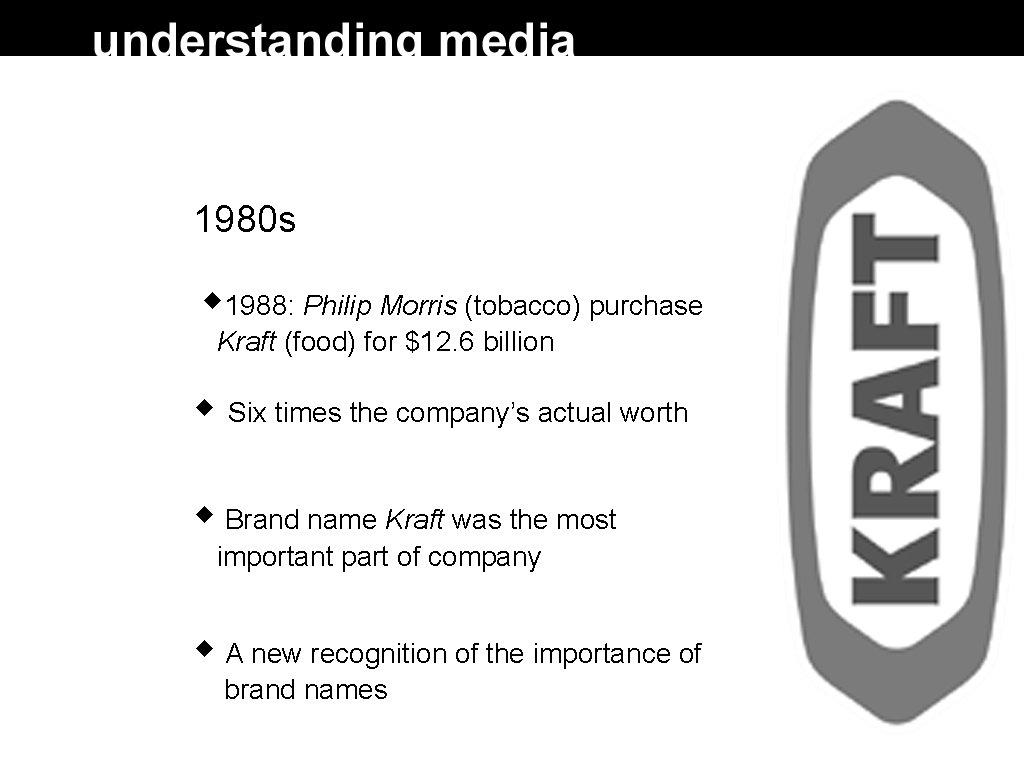 1980 s 1988: Philip Morris (tobacco) purchase Kraft (food) for $12. 6 billion Six