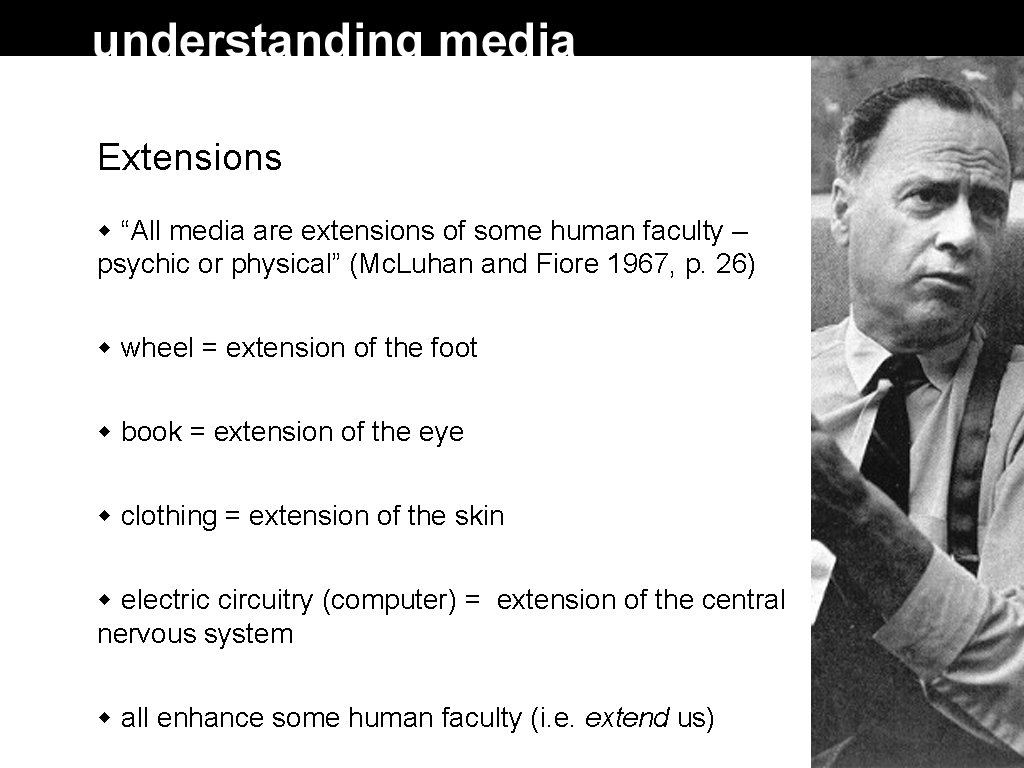 """Extensions """"All media are extensions of some human faculty – psychic or physical"""" (Mc."""