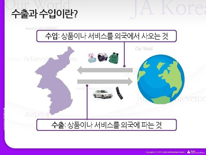 Our World 수출과 수입이란? JA Korea designed by CHOGEOSUNG 수입: 상품이나 서비스를 외국에서 사오는