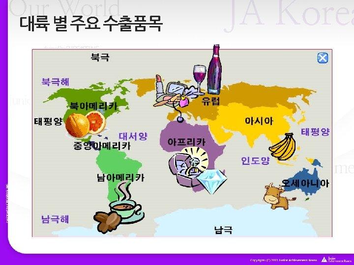 Our World 대륙 별 주요 수출품목 JA Korea designed by CHOGEOSUNG Our World Junior
