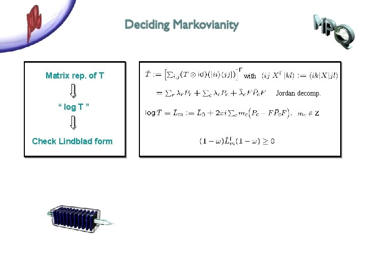"""Matrix rep. of T with Jordan decomp. """" log T """" Check Lindblad form"""