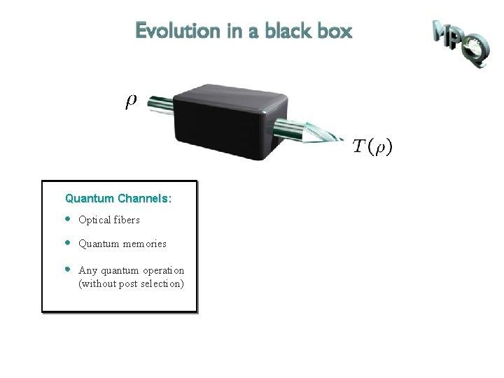 Quantum Channels: Optical fibers Quantum memories Any quantum operation (without post selection)