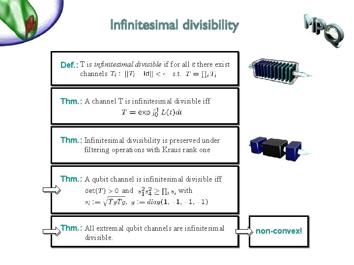 Def. : T is infinitesimal divisible if for all e there exist channels s.