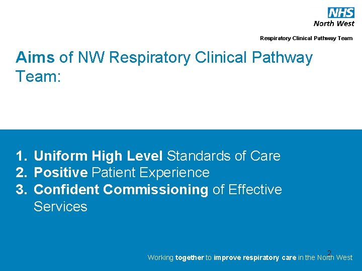 Respiratory Clinical Pathway Team Aims of NW Respiratory Clinical Pathway Team: 1. Uniform High