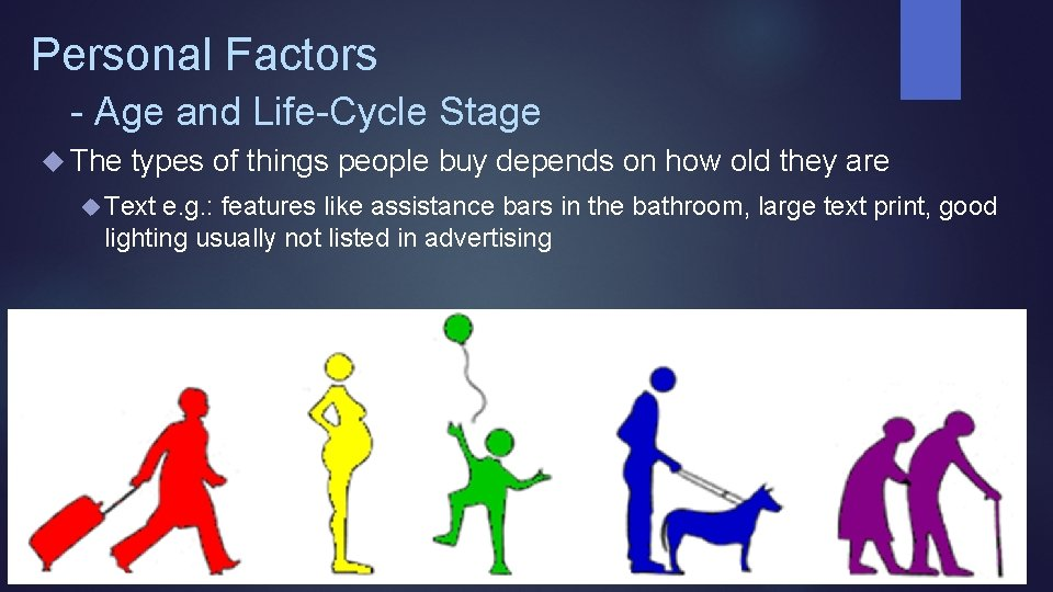 Personal Factors - Age and Life-Cycle Stage The types of things people buy depends