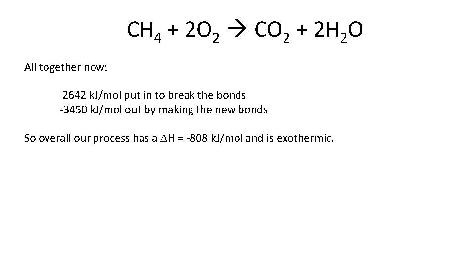 CH 4 + 2 O 2 CO 2 + 2 H 2 O All