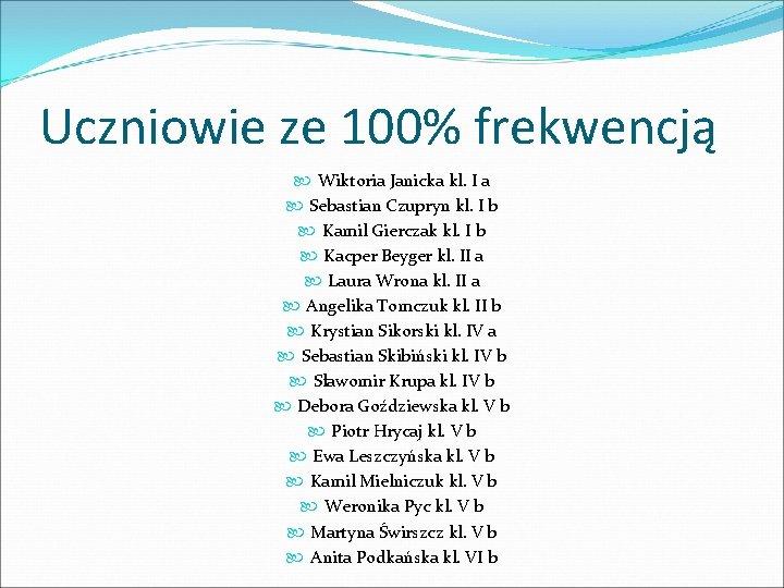 Uczniowie ze 100% frekwencją Wiktoria Janicka kl. I a Sebastian Czupryn kl. I b