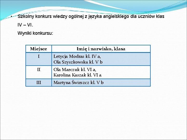 • Szkolny konkurs wiedzy ogólnej z języka angielskiego dla uczniów klas IV –