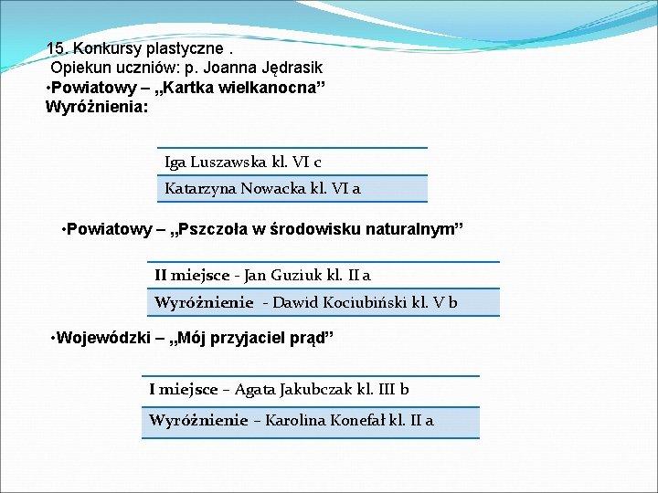 """15. Konkursy plastyczne. Opiekun uczniów: p. Joanna Jędrasik • Powiatowy – """"Kartka wielkanocna"""" Wyróżnienia:"""