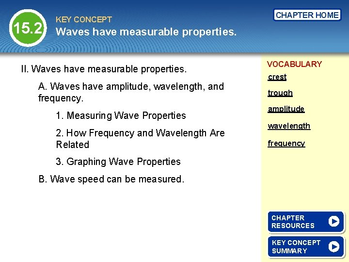 15. 2 KEY CONCEPT CHAPTER HOME Waves have measurable properties. II. Waves have measurable
