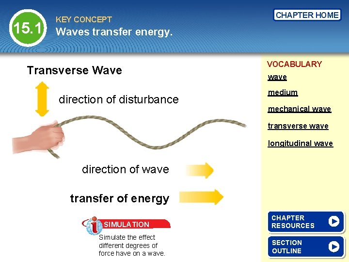 15. 1 KEY CONCEPT CHAPTER HOME Waves transfer energy. Transverse Wave direction of disturbance
