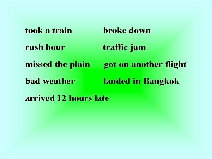 took a train broke down rush hour traffic jam missed the plain got on