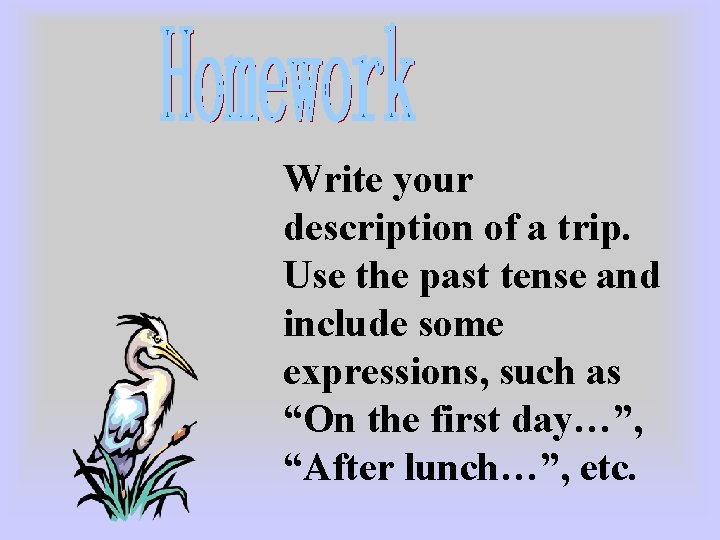 Write your description of a trip. Use the past tense and include some expressions,