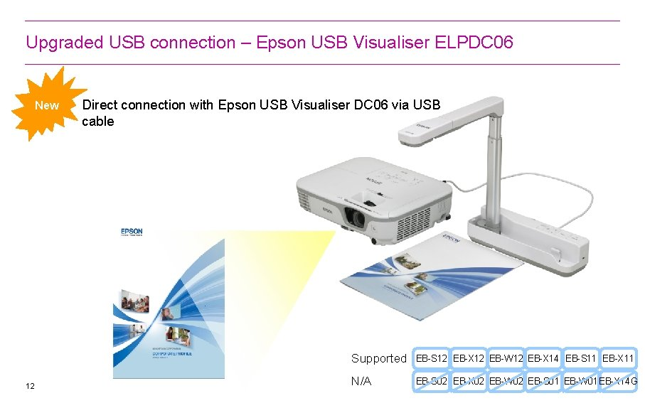 Upgraded USB connection – Epson USB Visualiser ELPDC 06 New 12 Direct connection with