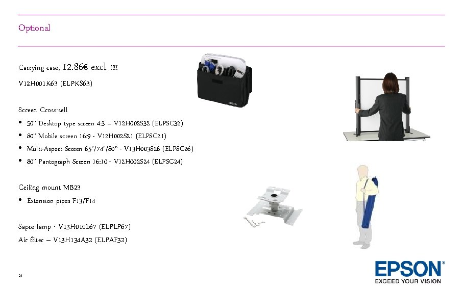 Optional Carrying case, 12. 86€ excl. !!!! V 12 H 001 K 63 (ELPKS