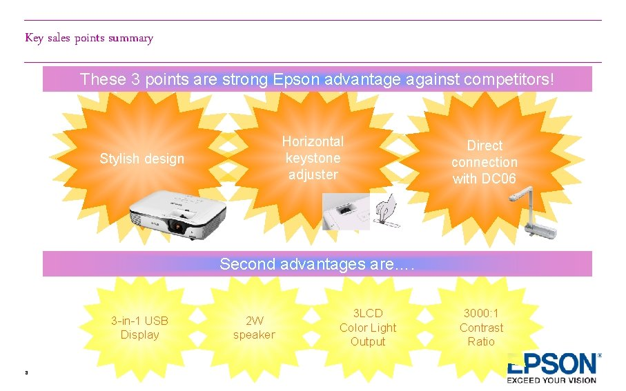 Key sales points summary These 3 points are strong Epson advantage against competitors! Horizontal