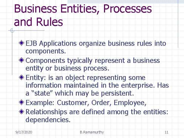 Business Entities, Processes and Rules EJB Applications organize business rules into components. Components typically