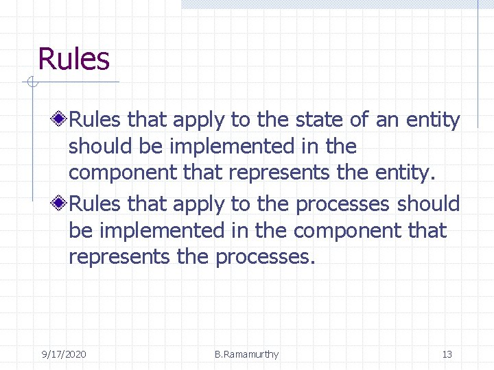 Rules that apply to the state of an entity should be implemented in the