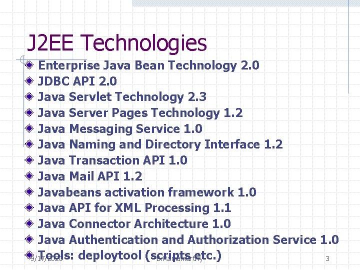 J 2 EE Technologies Enterprise Java Bean Technology 2. 0 JDBC API 2. 0