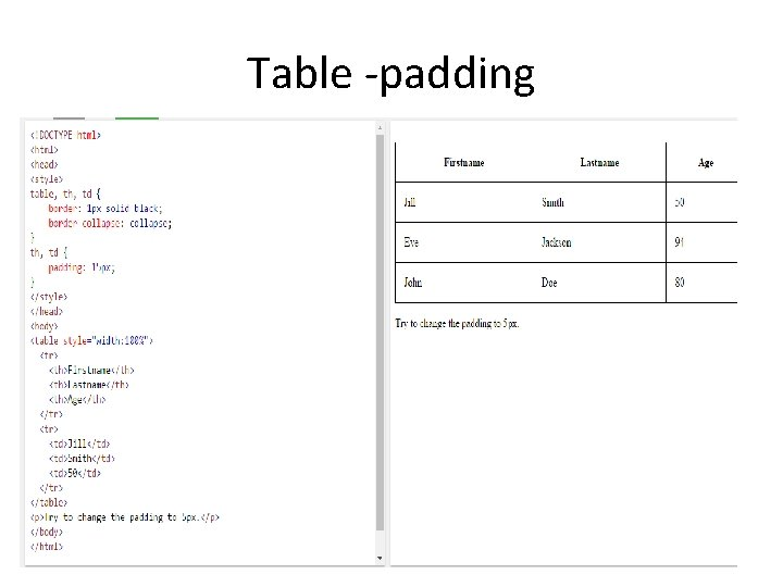 Table -padding
