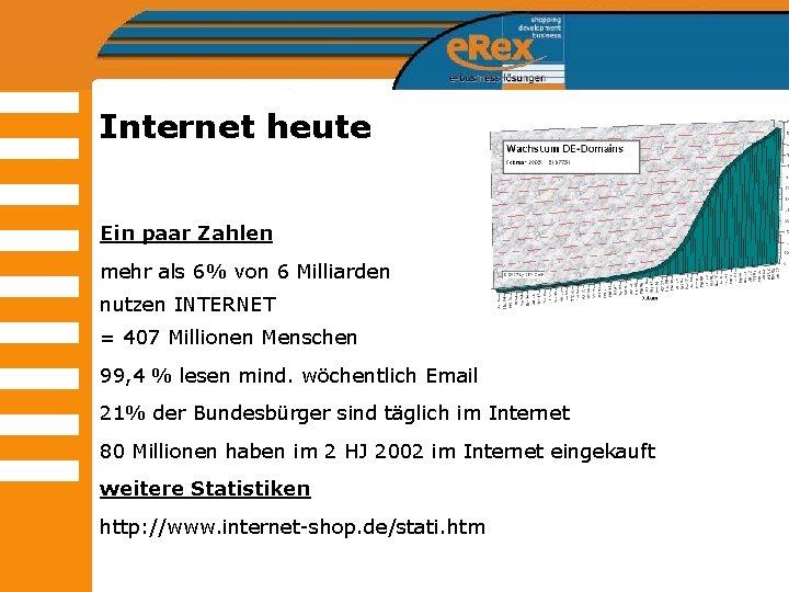 Internet heute Ein paar Zahlen mehr als 6% von 6 Milliarden nutzen INTERNET =