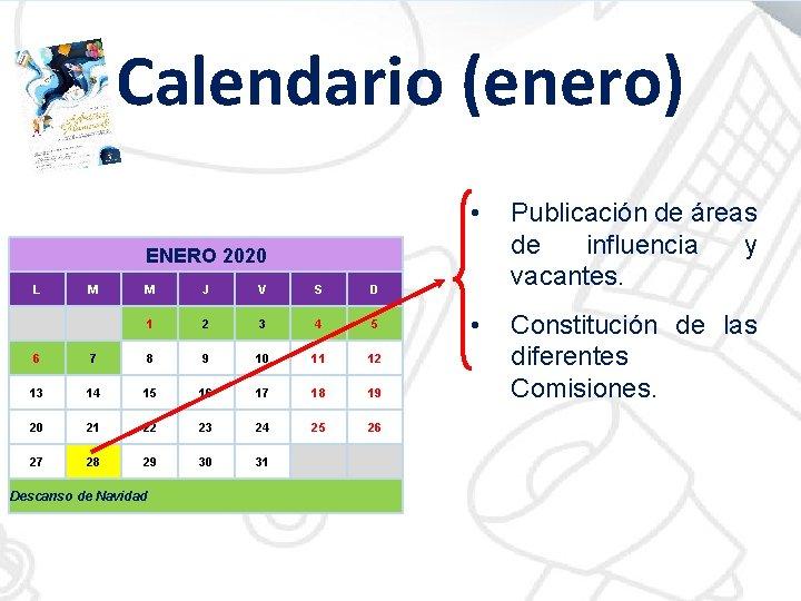 Calendario (enero) • Publicación de áreas de influencia y vacantes. • Constitución de las