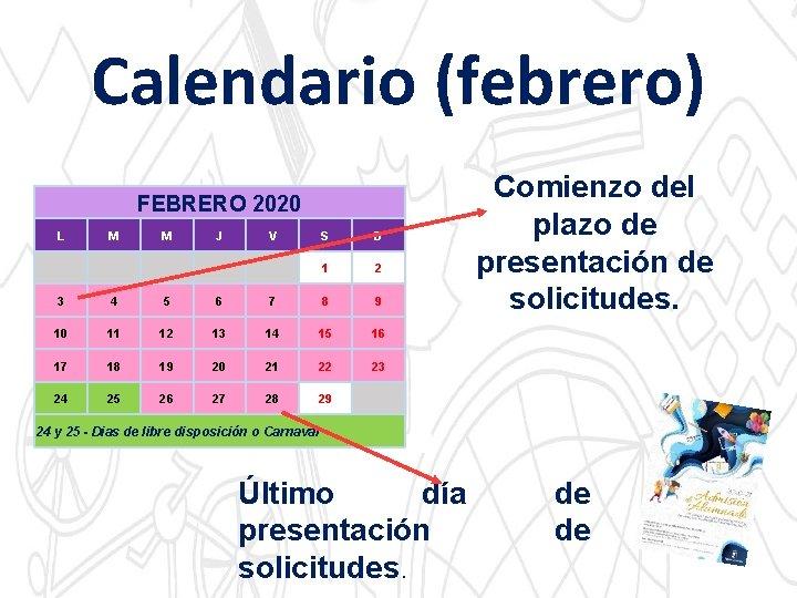 Calendario (febrero) FEBRERO 2020 L M M J V S D 1 2 3