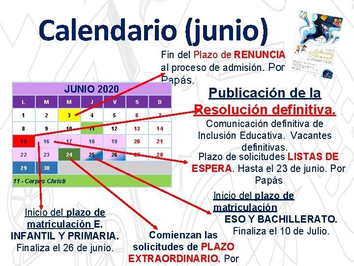 Calendario (junio) Fin del Plazo de RENUNCIA al proceso de admisión. Por Papás. JUNIO
