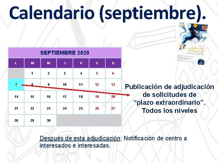 Calendario (septiembre). SEPTIEMBRE 2020 L M M J V S D 1 2 3