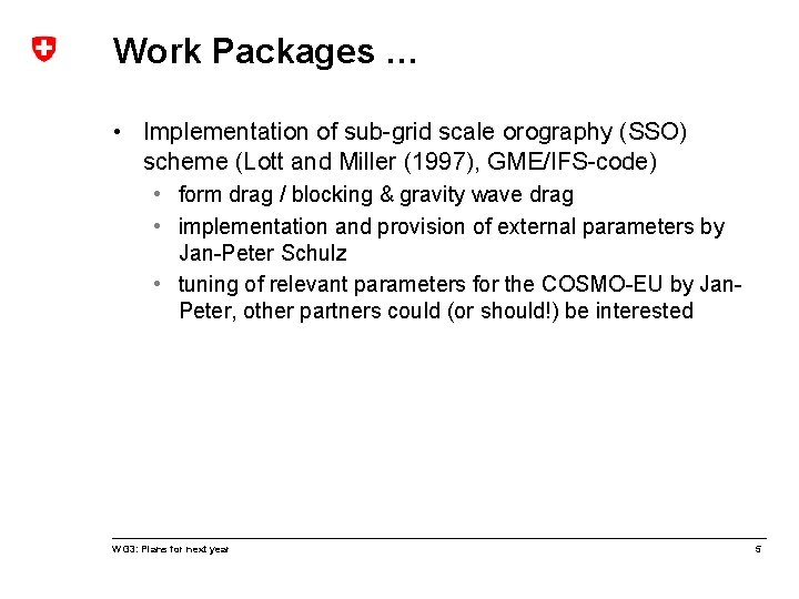 Work Packages … • Implementation of sub-grid scale orography (SSO) scheme (Lott and Miller