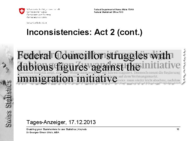 Federal Department of Home Affairs FDHA Federal Statistical Office FSO Inconsistencies: Act 2 (cont.