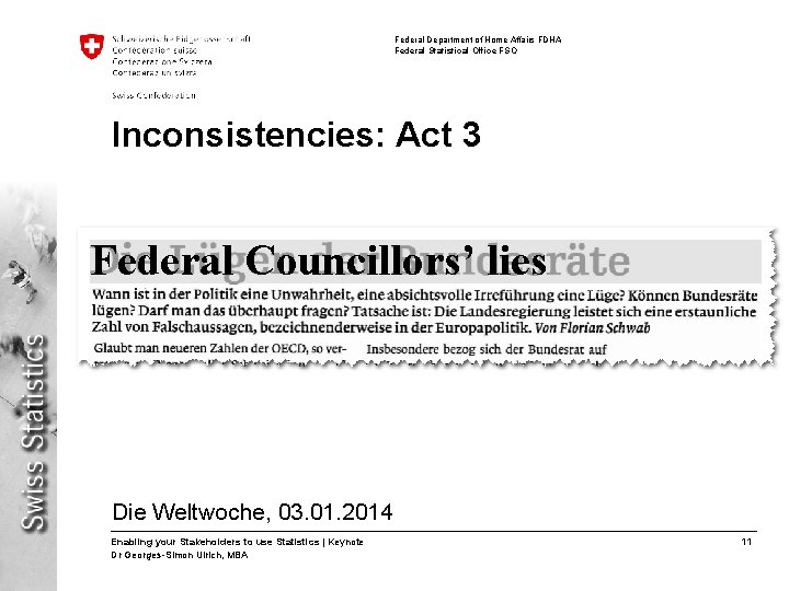 Federal Department of Home Affairs FDHA Federal Statistical Office FSO Inconsistencies: Act 3 Federal