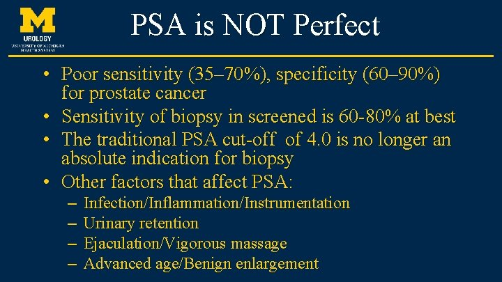 psa test sensitivity and specificity)