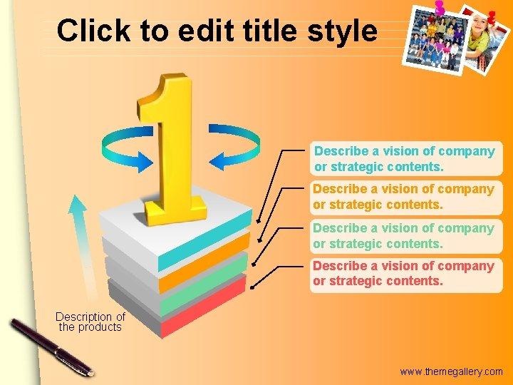 Click to edit title style Describe a vision of company or strategic contents. Description