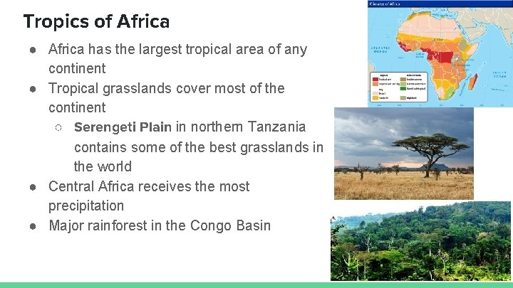 Tropics of Africa ● Africa has the largest tropical area of any continent ●