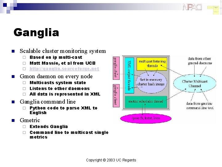Ganglia n Scalable cluster monitoring system Based on ip multi-cast ¨ Matt Massie, et