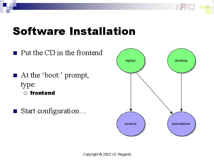 Software Installation n Put the CD in the frontend n At the 'boot: '