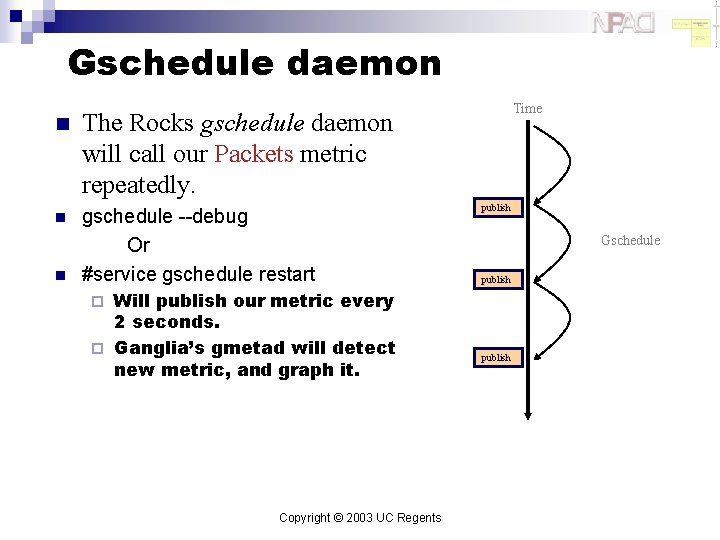 Gschedule daemon n The Rocks gschedule daemon will call our Packets metric repeatedly. n