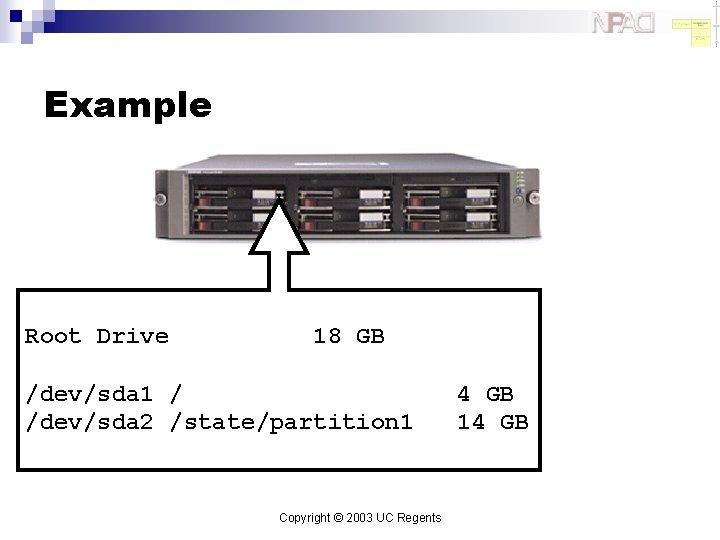 Example Root Drive 18 GB /dev/sda 1 / /dev/sda 2 /state/partition 1 Copyright ©