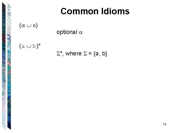 Common Idioms ( ) (a b)* optional *, where = {a, b} 14