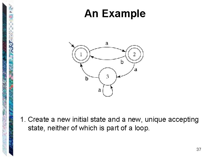 An Example 1. Create a new initial state and a new, unique accepting state,