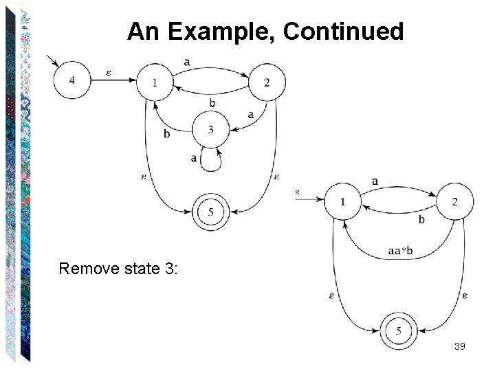 An Example, Continued Remove state 3: 39